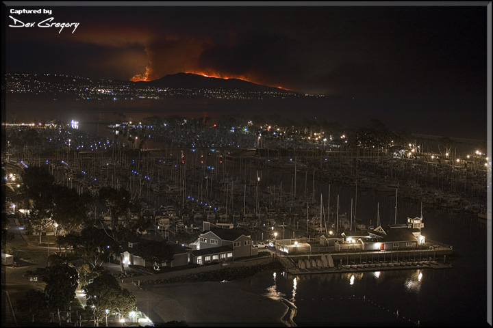 Camp Pendleton Fire as seen from Dana Point 18 Miles Away - 2007