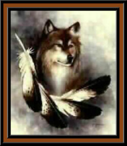 Wolf with feather in front